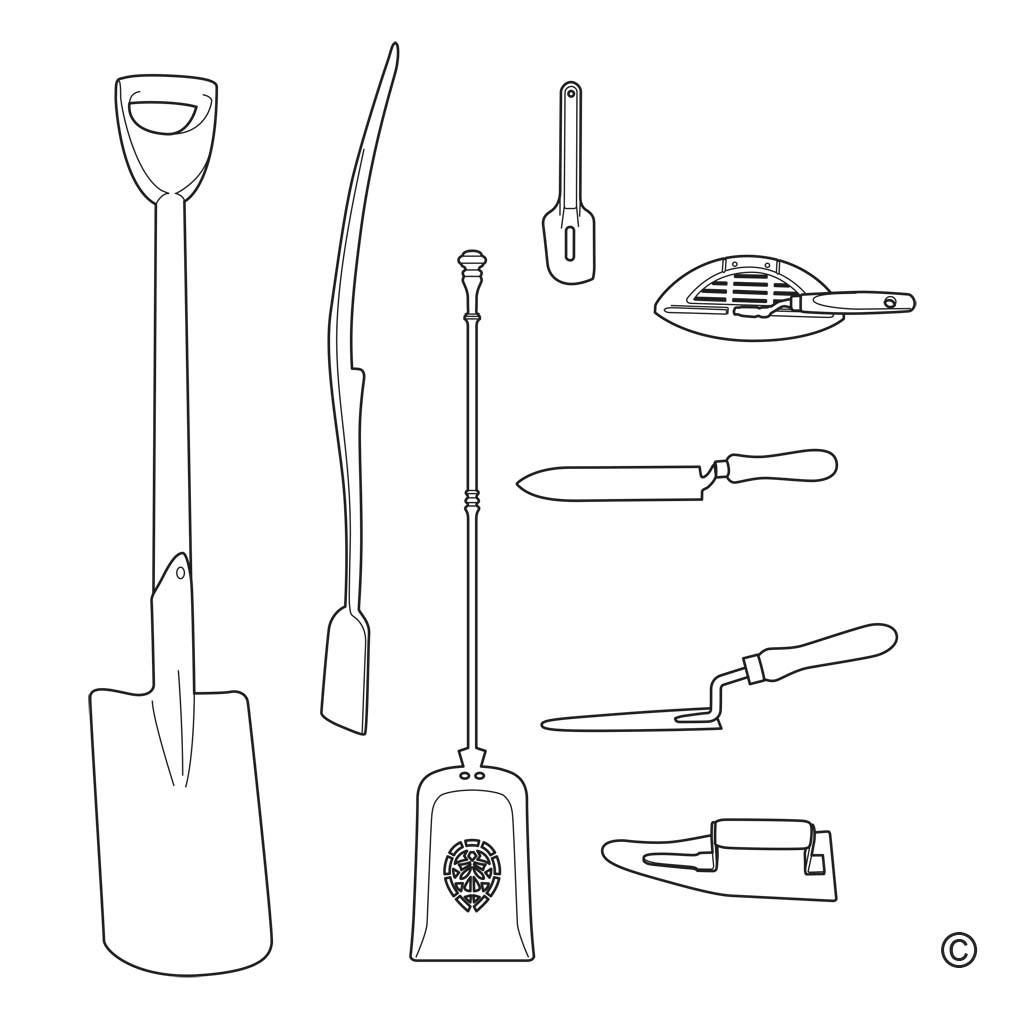 schop-/spade-/troffelvormig